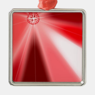 Ruby Starburst Metal Ornament