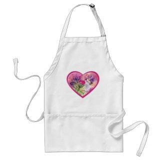 Ruby Throat Hummingbird Heart for Valentine's Day Standard Apron