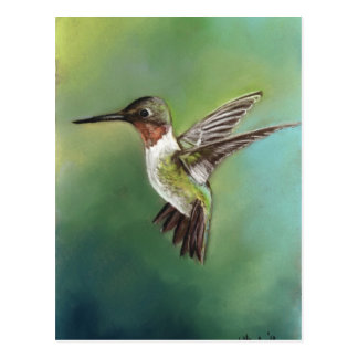 Ruby Throated Hummingbird Art Postcard