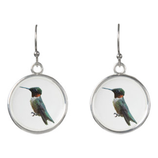 Ruby-Throated Hummingbird Bird Photography Earrings