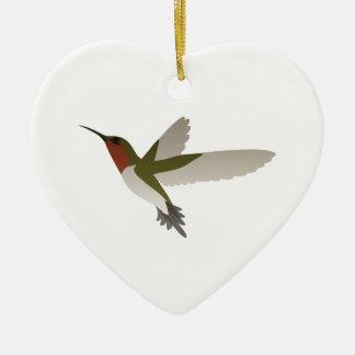 Ruby Throated Hummingbird Ceramic Heart Decoration