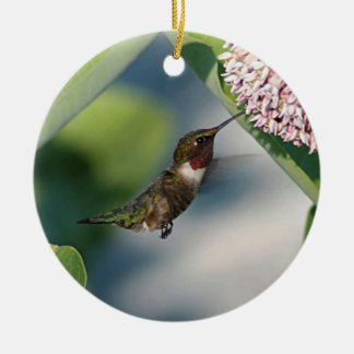 Ruby-throated hummingbird ceramic ornament