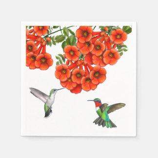 Ruby Throated Hummingbird Couple Napkins Paper Napkins