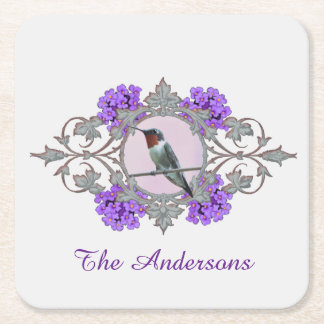 Ruby Throated Hummingbird, Family Name Square Paper Coaster