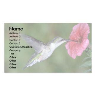 Ruby-throated Hummingbird (female) with petunia Business Card