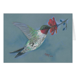 Ruby throated Hummingbird in flight Greeting Card
