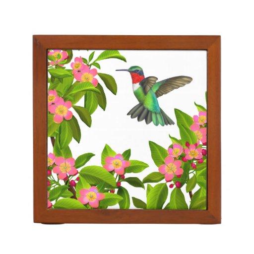 Ruby Throated Hummingbird in Flowers Organizer Desk Organizers