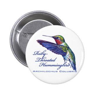 Ruby Throated Hummingbird Latin Pinback Button
