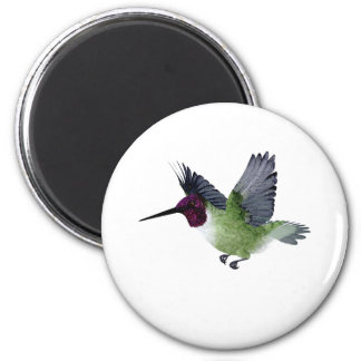 Ruby Throated Hummingbird Male 6 Cm Round Magnet