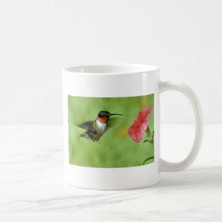 Ruby-throated Hummingbird (male) with petunia Mug