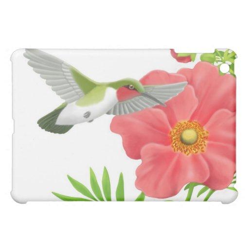Ruby Throated Hummingbird on Geum Flower iPad Mini Covers