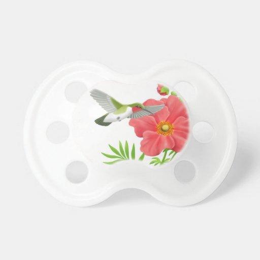 Ruby Throated Hummingbird on Geum Flower Pacifier