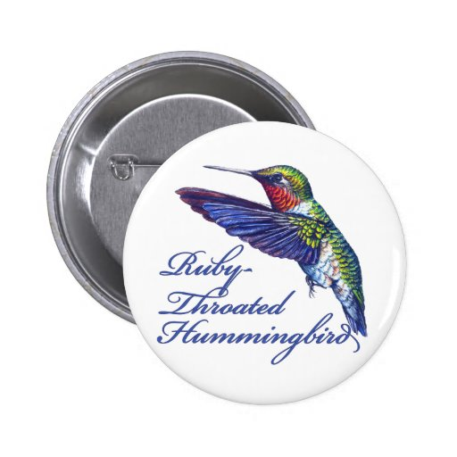 Ruby Throated Hummingbird Scripted Pinback Button