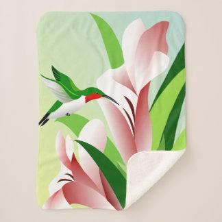 Ruby Throated Hummingbird Sherpa Blanket