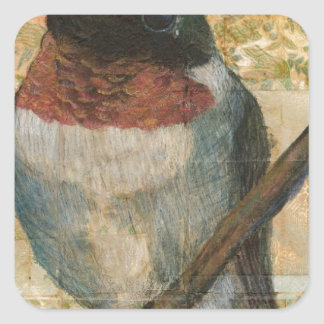 Ruby Throated Hummingbird Square Sticker