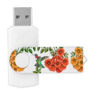 Ruby Throated Hummingbird USB 32GB Flash Drive Swivel USB 3.0 Flash Drive