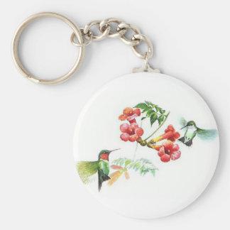 Ruby Throated Hummingbirds Keychain