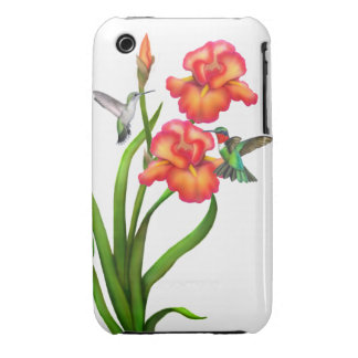 Ruby Throated Hummingbirds on Irises iPhone 3 Case-Mate Cases