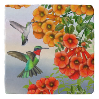 Ruby Throated Hummingbirds Stone Trivet
