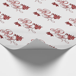Ruby Typography with Roses Red and White Wrapping Paper