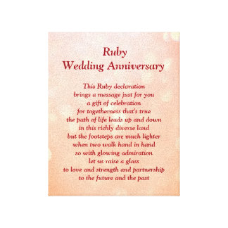 Ruby Wedding Anniversary Canvas