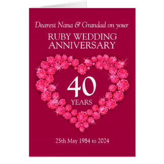 Ruby wedding anniversary grandparents 40th card