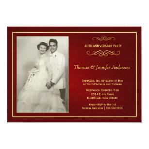 Ruby Wedding Anniversary Invitations   40th