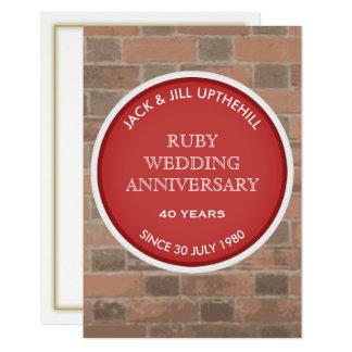 Ruby Wedding Anniversary Party Invitation