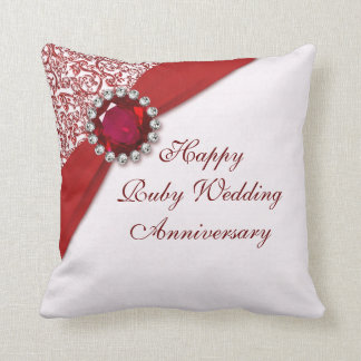 Ruby Wedding Anniversary Throw Pillow