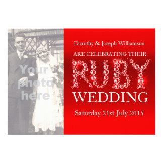 Ruby wedding sparkle stones photo party invite 40