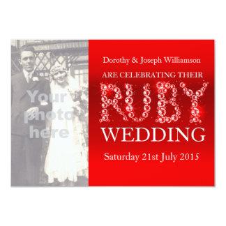 "Ruby wedding sparkle stones photo party invite 40 4.5"" x 6.25"" invitation card"