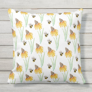 Rudbeckia Cone Flowers & Bumble Bees Outdoor Cushion