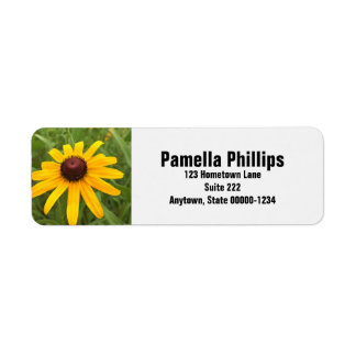 Rudbeckia Flower Close-Up Photograph Return Address Label