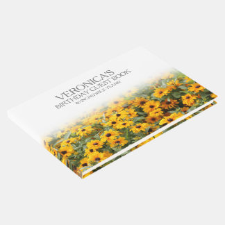 Rudbeckia Flowers 80th Birthday Guest Book