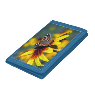 rudbeckia with butterfly tri-fold wallet