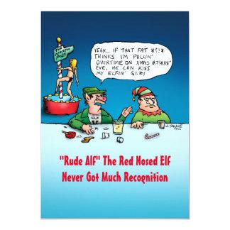 Rude Alf Funny Elf Flat Christmas Card 13 Cm X 18 Cm Invitation Card
