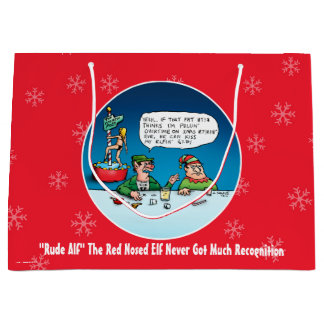 Rude Alf The Red Nosed Elf Funny Christmas Large Gift Bag