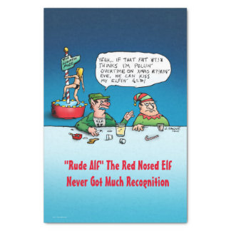 Rude Alf The Red Nosed Elf Funny Xmas Tissue Paper