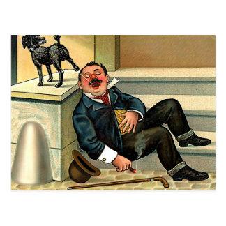 RUDE AWAKENING - Vintage Dog Art Postcard
