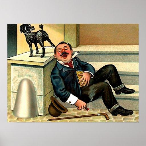 RUDE AWAKENING Vintage Dog Art Poster
