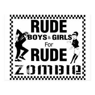 Rude boys and girls for rude zombie postcard