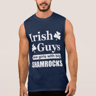 Rude Irish Guys Love Big Shamrocks Funny Sleeveless Tee
