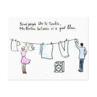 "Rude joke wife laundry ""good blow"" canvas print"