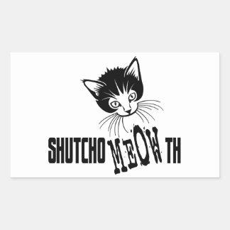 Rude Kitty - Shut Your Mouth Rectangular Sticker