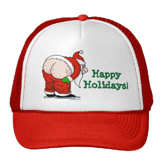 Rude Santa happy Holidays Hat