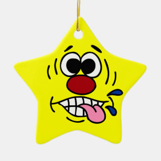 Rude Smiley Face Grumpey Ceramic Star Decoration