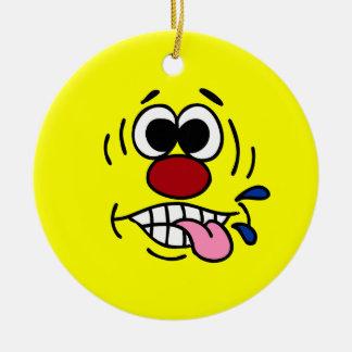 Rude Smiley Face Grumpey Round Ceramic Decoration