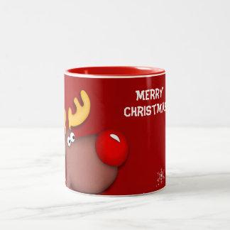 Rudolf Christmas Greetings Two-Tone Coffee Mug