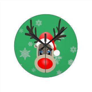 Rudolf - Christmas reindeer Round Clock