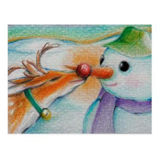 Rudolf meets the snowman postcard